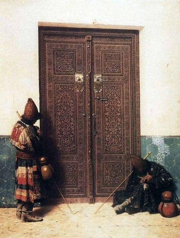 Description paintings Vasily Vereshchagin At the door of the mosque