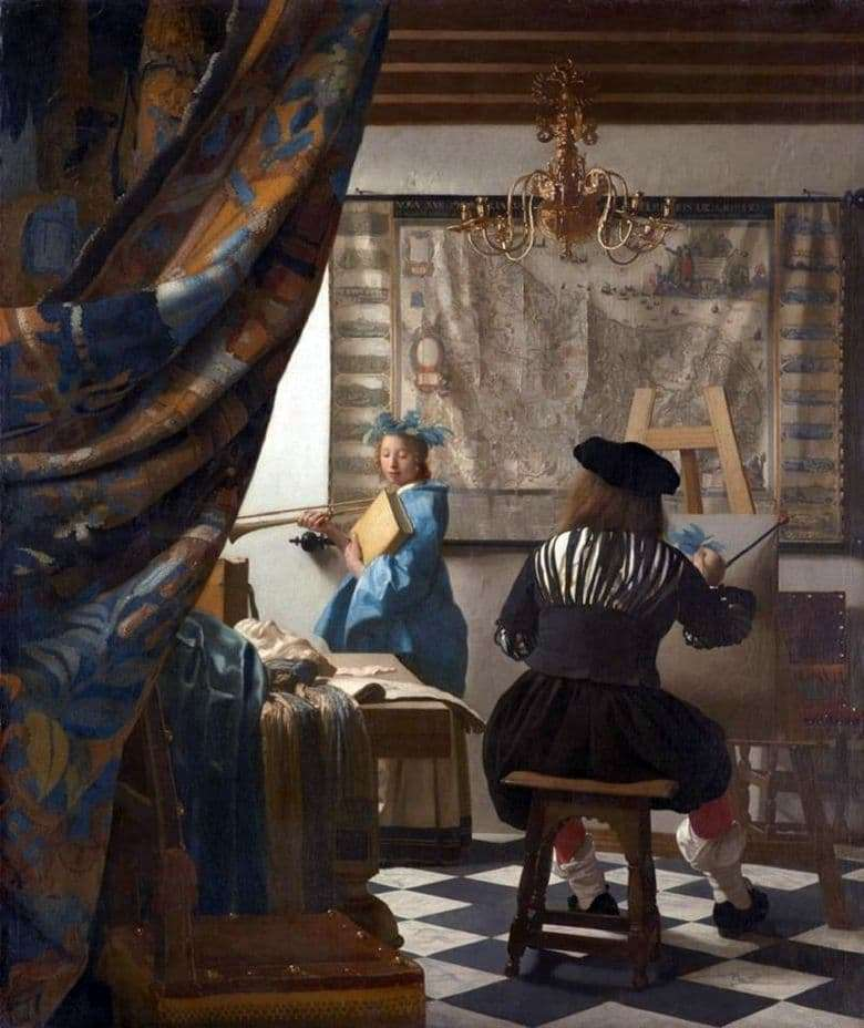Description of the painting by Jan Vermeer Artists Studio