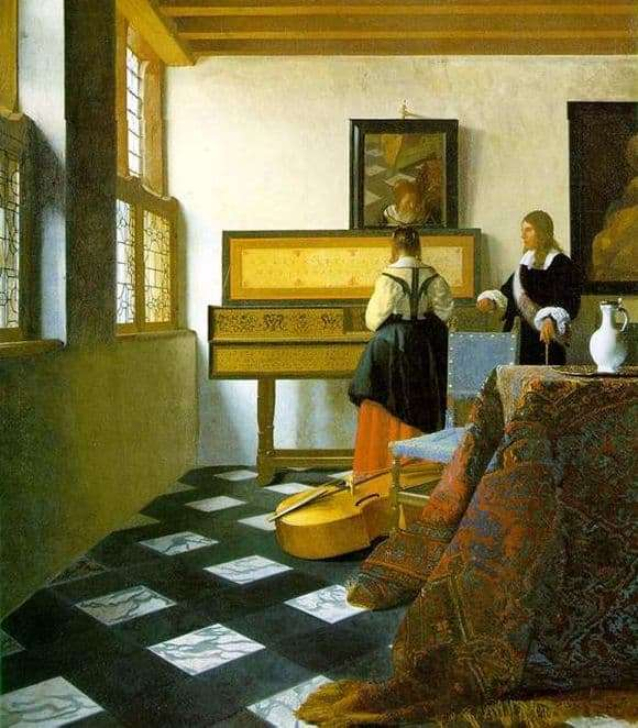 Description of the painting by Jan Vermeer Music Lesson