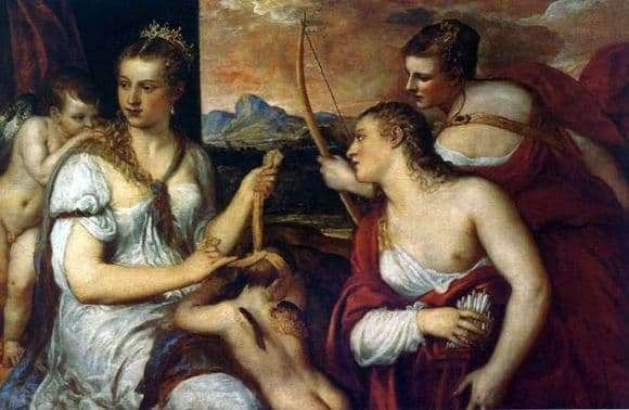 Description of the painting by Titian Venus tying the eyes of Cupid