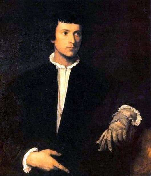 Description of the painting by Veccio Titian The young man with a glove