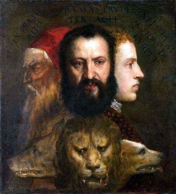 Description of the painting by Titian Vechelio Allegory of Time (Prudence)