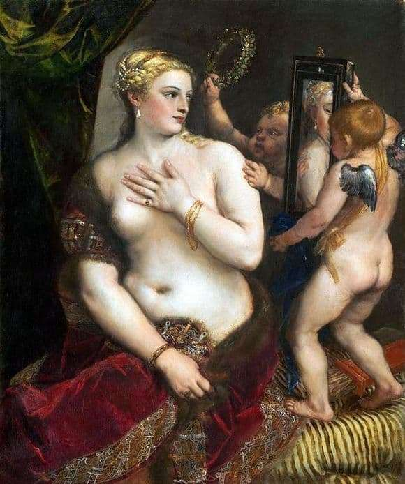 Description of the painting by Titian Vechelio Venus in front of a mirror