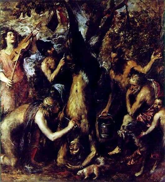 Description of the painting by Titian Vecellio Punishment of Marcia