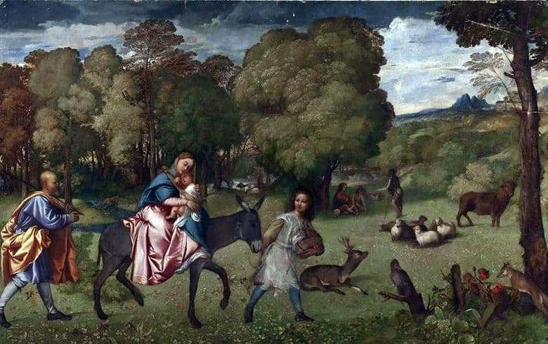 Description of the painting by Titian Vechelio Flight into Egypt