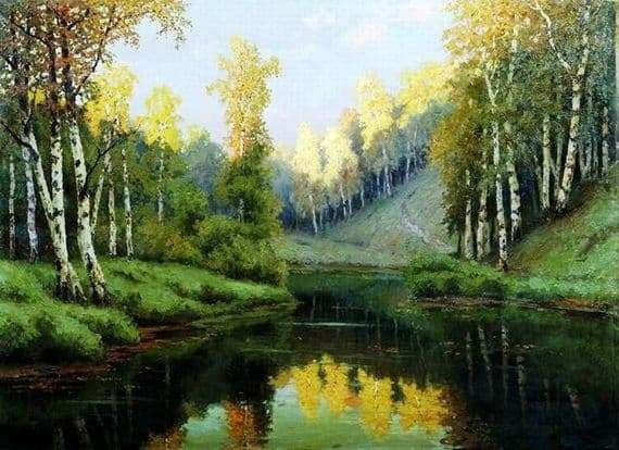 Description of the painting by Efim Volkov Forest Lake
