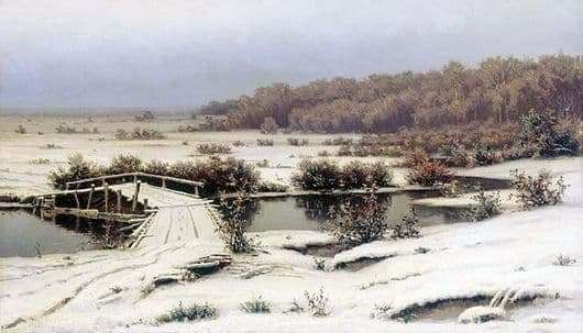 Description of the painting by Efim Volkov Early snow