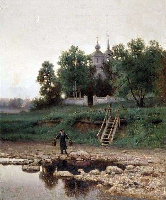 Description of the painting by Efim Volkov At the monastery