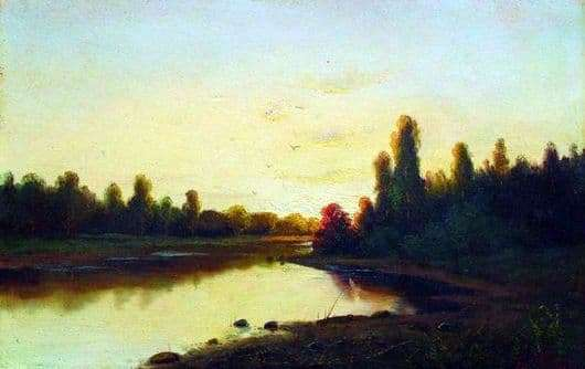 Description of the painting by Efim Volkov Sunset on the River