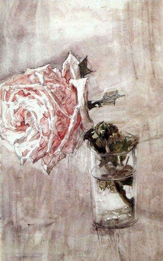 Description of the painting by Mikhail Vrubel Rose in a glass