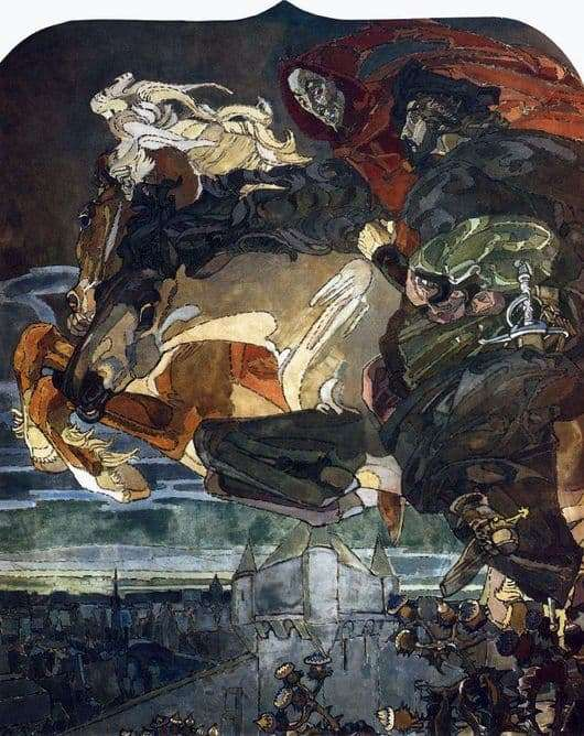 Description of the painting by Mikhail Vrubel Flight of Faust and Mephistopheles