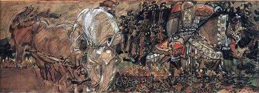 Description of the painting by Mikhail Vrubel Mikula Selyaninovich