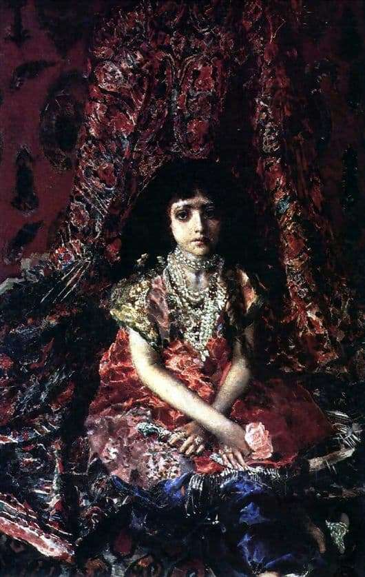 Description of the painting by Mikhail Vrubel Girl on the background of the Persian carpet