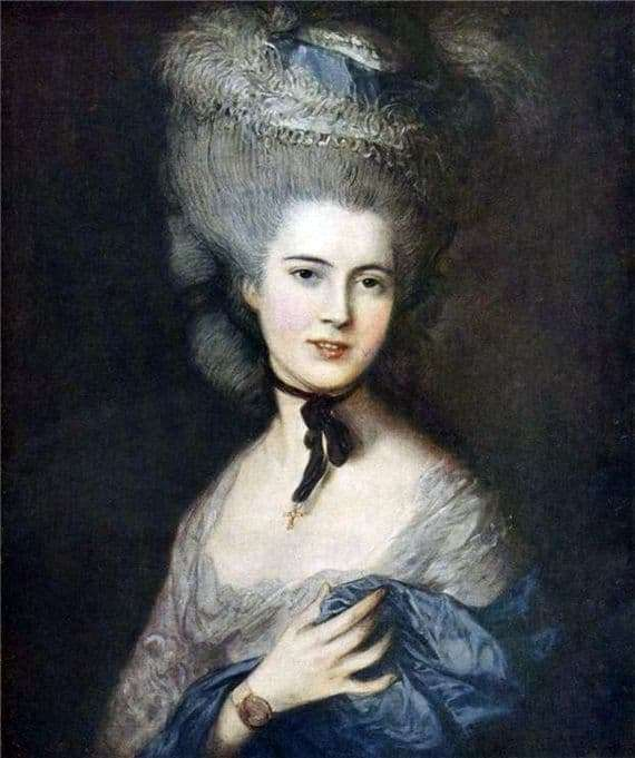 Description of the painting by Thomas Gainsborough Lady in Blue