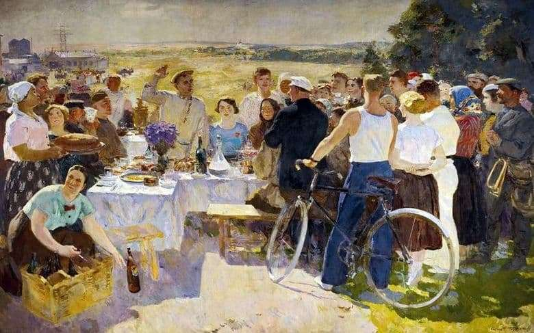 Description of the painting by Sergei Gerasimov Collective farm holiday