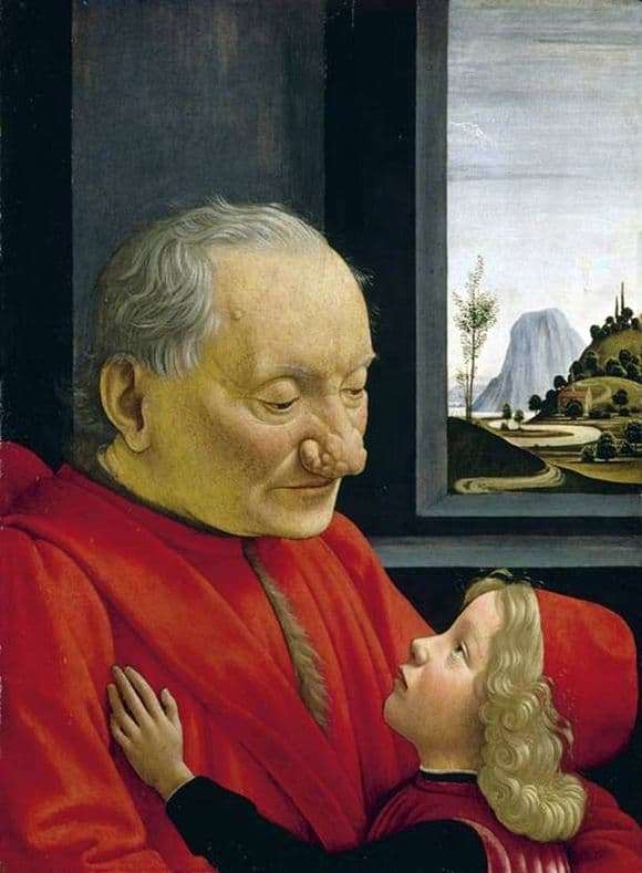 Description of the painting by Domenico Ghirlandaio Portrait of an old man with a grandson