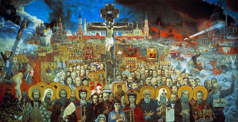 Description of the painting by Ilya Glazunov One Hundred Ages