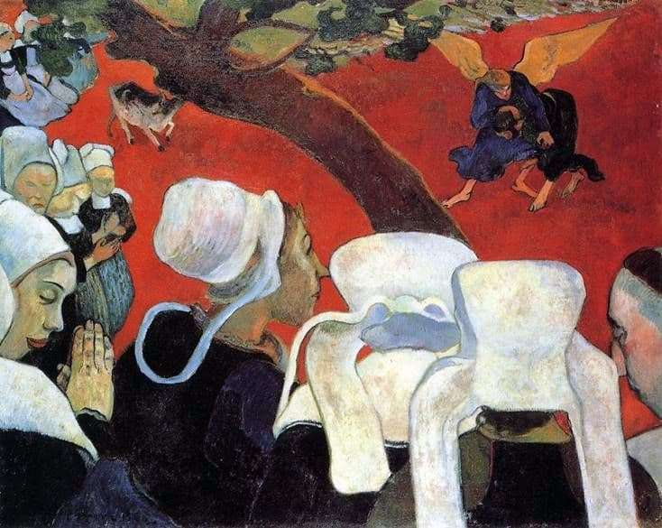 Description of the painting by Paul Gauguin Vision after the Sermon