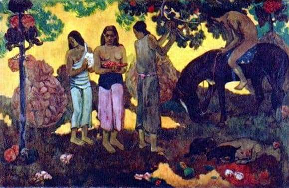 Description of the painting by Paul Gauguin Fruit picking