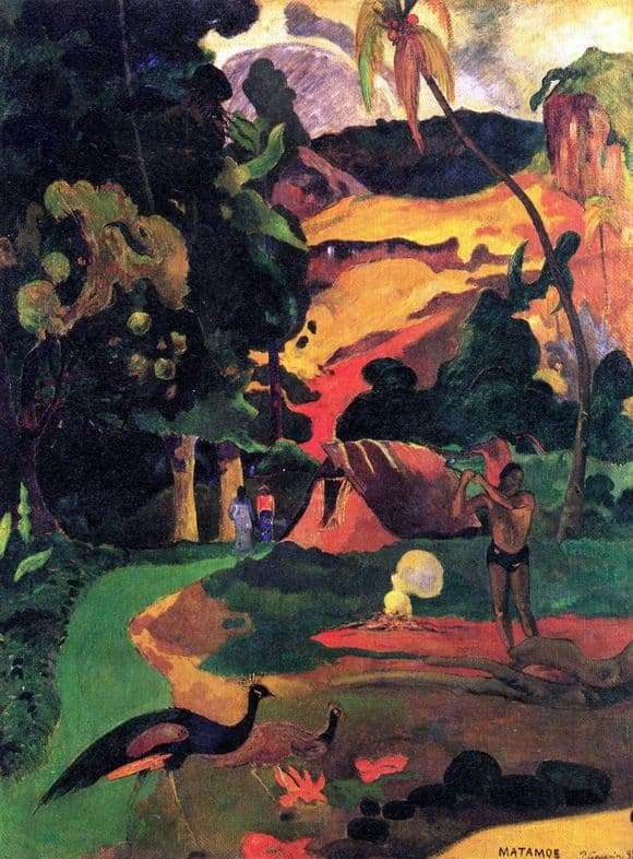 Description of the painting by Paul Gauguin Landscape with Peacocks