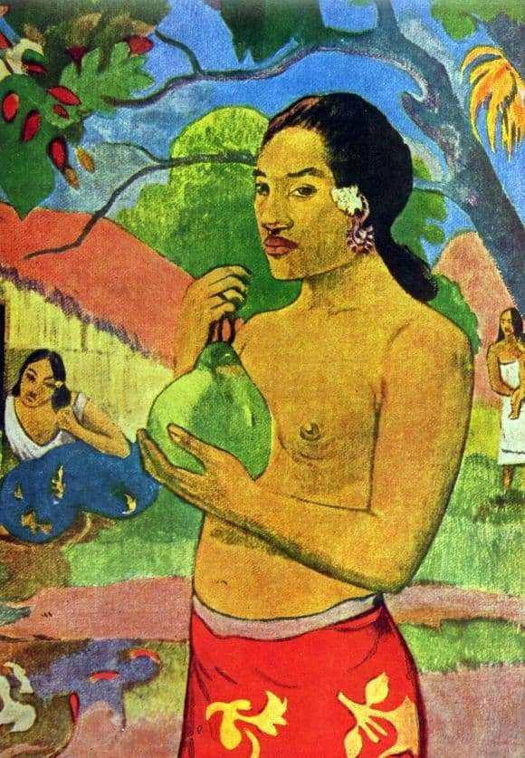 Description of the painting by Paul Gauguin Woman Holding a Fruit (1893)