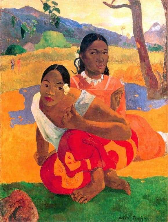 Description of the painting by When is the wedding by Paul Gauguin (When will you get married?)
