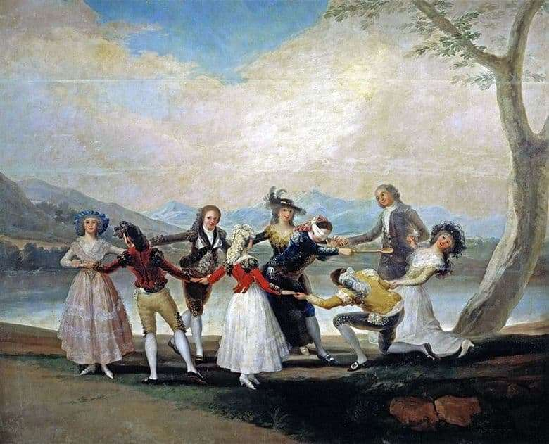 Description of the painting by Goya Francisco Playing in the blind mans buffoon