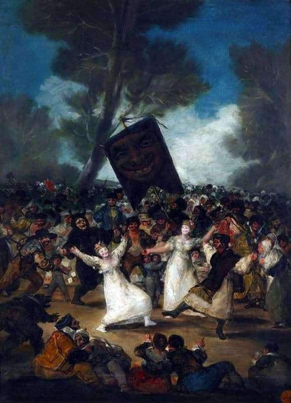 Description of the painting by Francisco de Goya The funeral of sardines