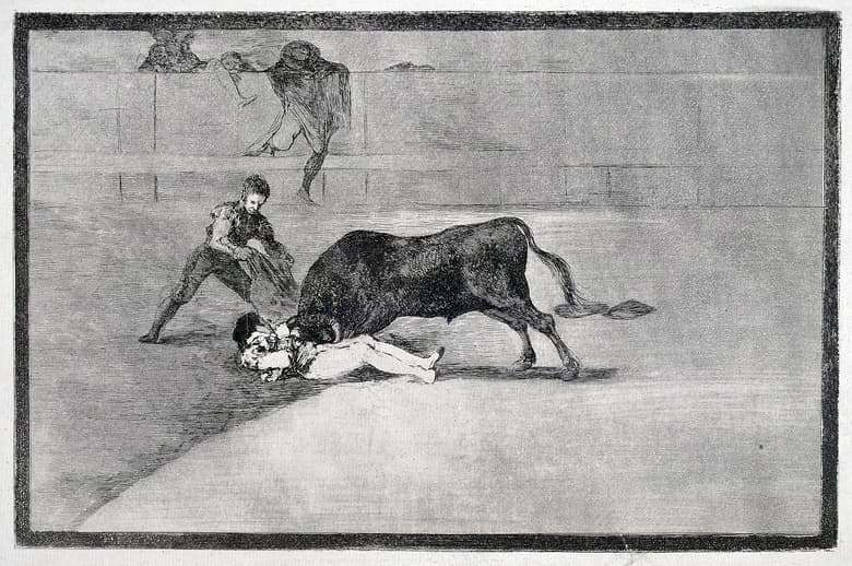 Description of Tavromachy by Francisco Goya Etching No 33: The tragic death of Pepe Ilho in the arena of Madrid