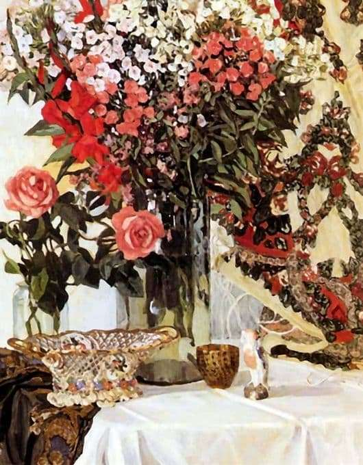 Description of the painting by Alexander Golovin Flowers in a Vase