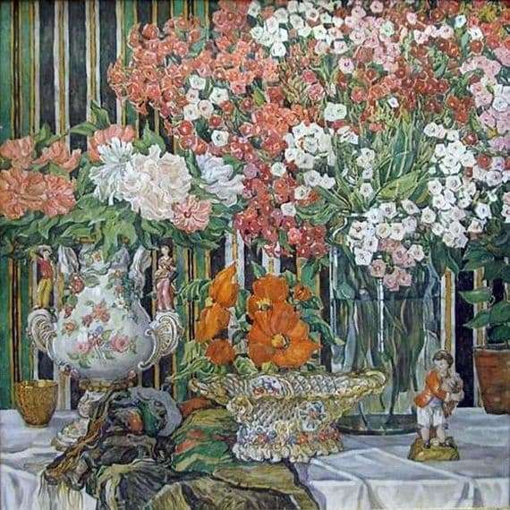 Description of the painting by Alexander Golovin Still life with phlox