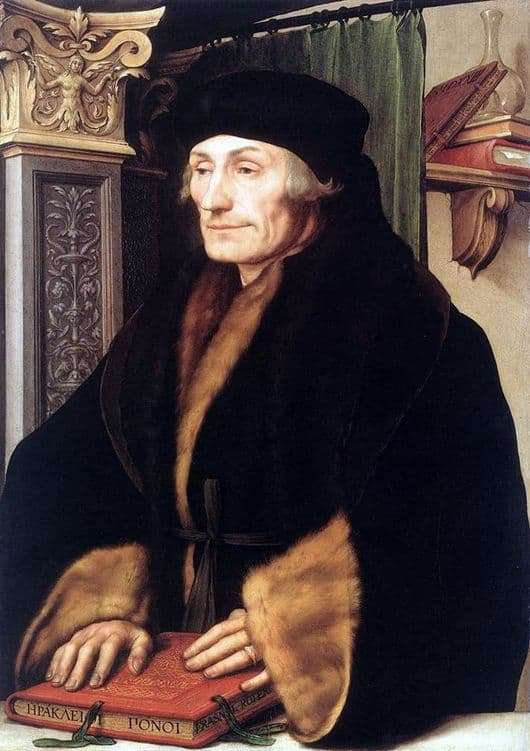 Description of the painting by Hans Holbein the Younger Erasmus of Rotterdam