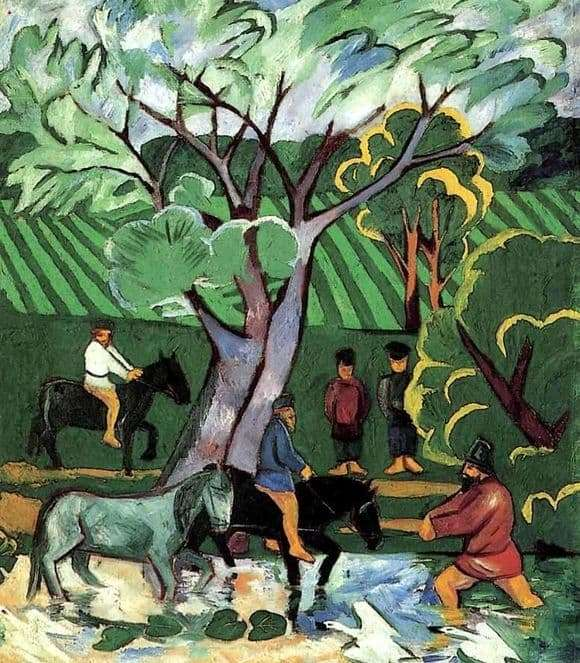 Description of the painting by Natalia Goncharova Bathing horses