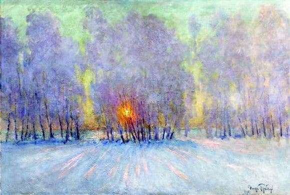 Description of the painting by Igor Grabar Hoarfrost. Sunrise