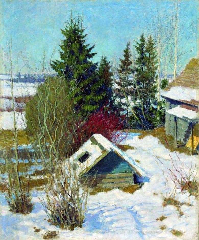 Description of the painting by Igor Grabar Last Snow