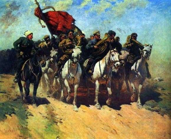 Description of the painting by Mitrofan Grekov Trumpeters of the first cavalry army