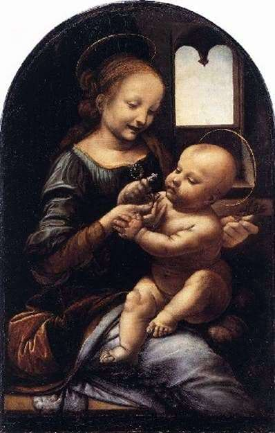 Description of the painting by Leonardo da Vinci Madonna with a flower (Madonna Benoit)