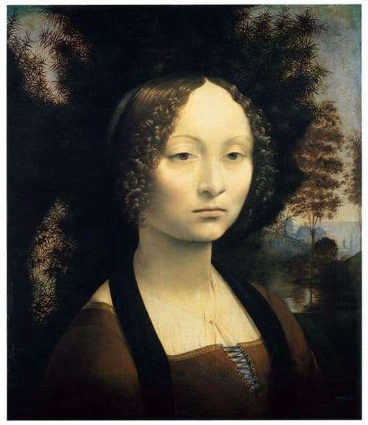 Description of the painting by Leonardo da Vinci Portrait of Genevra de Benchi