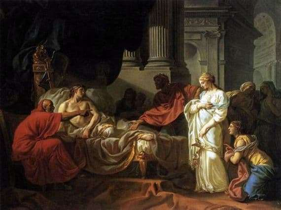 Description of the painting by Jacques Louis David Antiochus and Stratonika
