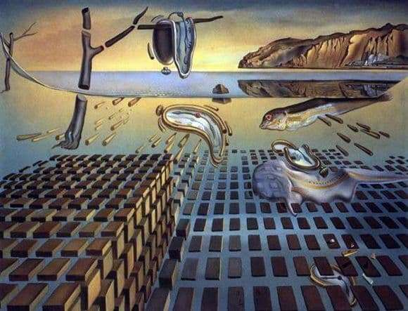 Description of the painting by Salvador Dali Disintegration of the constancy of memory