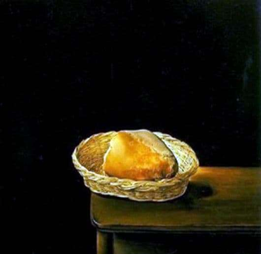 Description of the painting by Salvador Dali Basket of bread