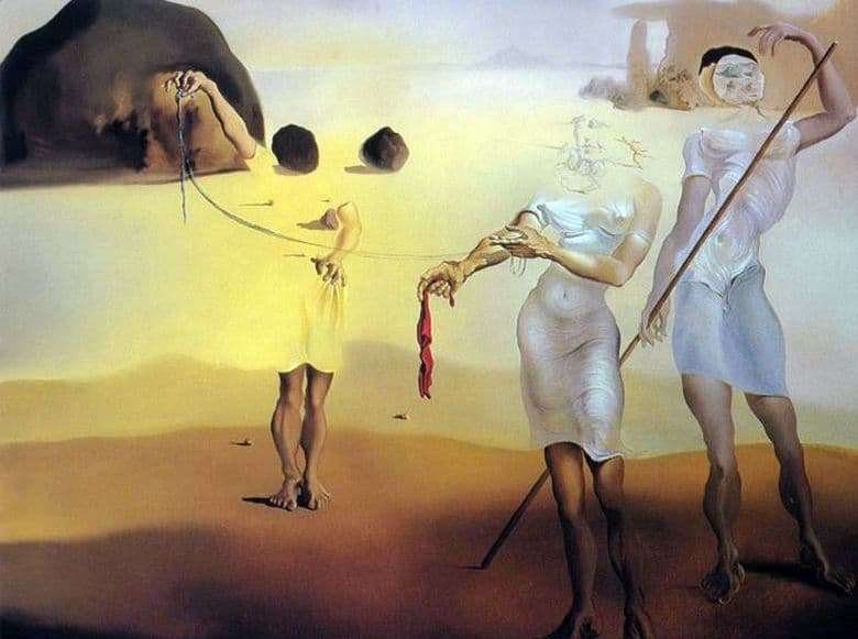 Description of the painting by Salvador Dali Enchanted Beach with Three Liquid Graces