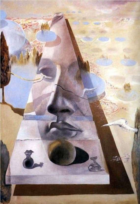 Description of the painting by Salvador Dali The appearance of the face of Aphrodite of Cnidus in the background of the landscape