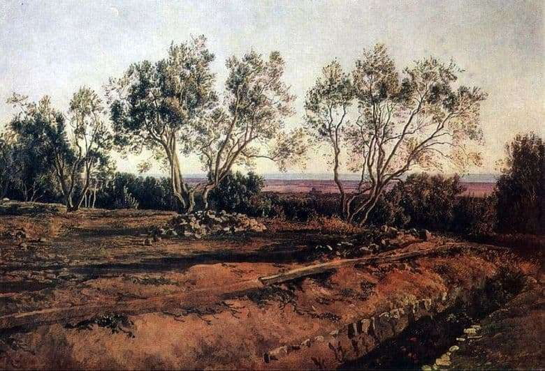 Description of the painting by Alexander Ivanov Olives at the cemetery in Albano. New month
