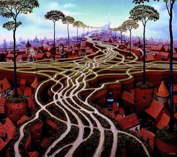 Description of the painting by Yacek Yerka Erosion