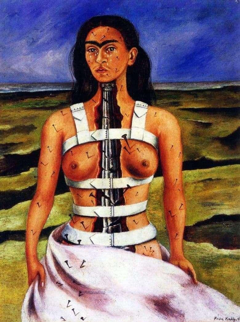 Description of the painting by Frida Kahlo Broken column