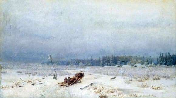 Description of the painting by Lev Lvovich Kamenev Winter road (1866)