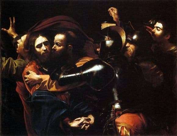 "Image result for Caravaggio's famous portrayal of ""The Kiss of Judas."""