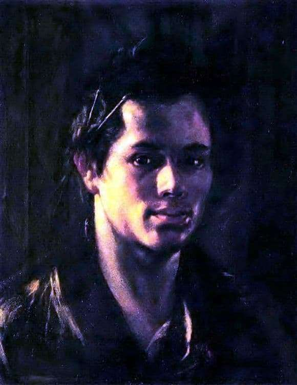 Description of the painting by Orest Kiprensky Self portrait with tassels behind the ear