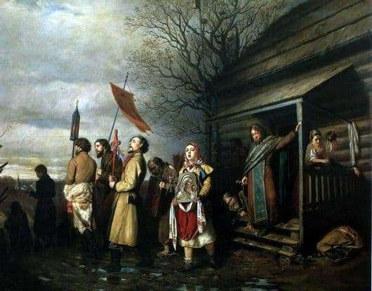 Description of the painting by Vasily Perov Rural religious procession at Easter